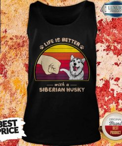 Life Is Better With A Siberian Husky Hand Footprint Vintage Retro Tank Top