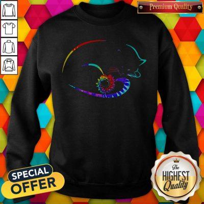 Nice Funny Cat Sunflower Sweatshirt