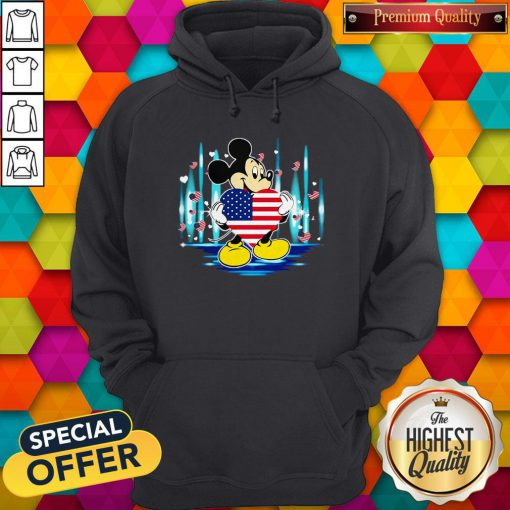 Nice Mickey Mouse Hug Heart God Bless America Flag Independence Day Hoodie