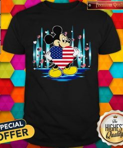 Nice Mickey Mouse Hug Heart God Bless America Flag Independence Day Shirt