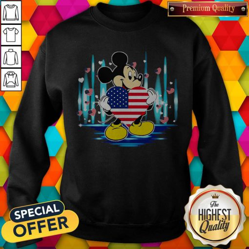 Nice Mickey Mouse Hug Heart God Bless America Flag Independence Day Sweatshirt