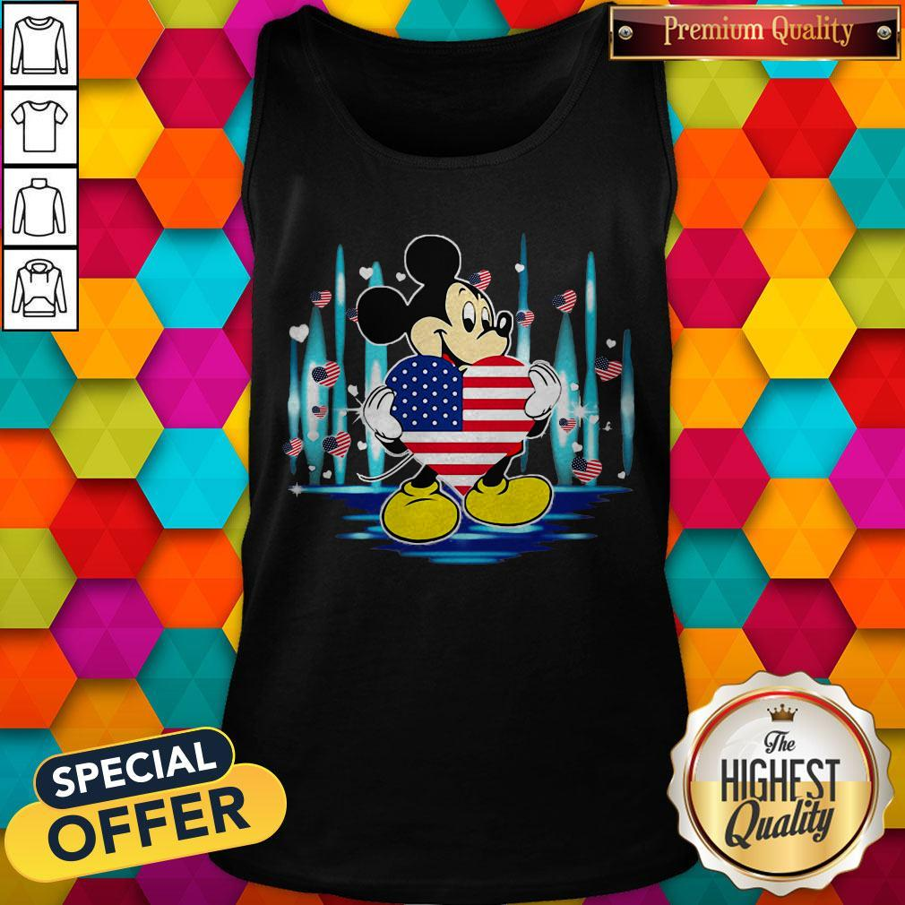 Nice Mickey Mouse Hug Heart God Bless America Flag Independence Day Tank Top