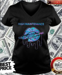 Official Lips Weed High Maintenance V-neck