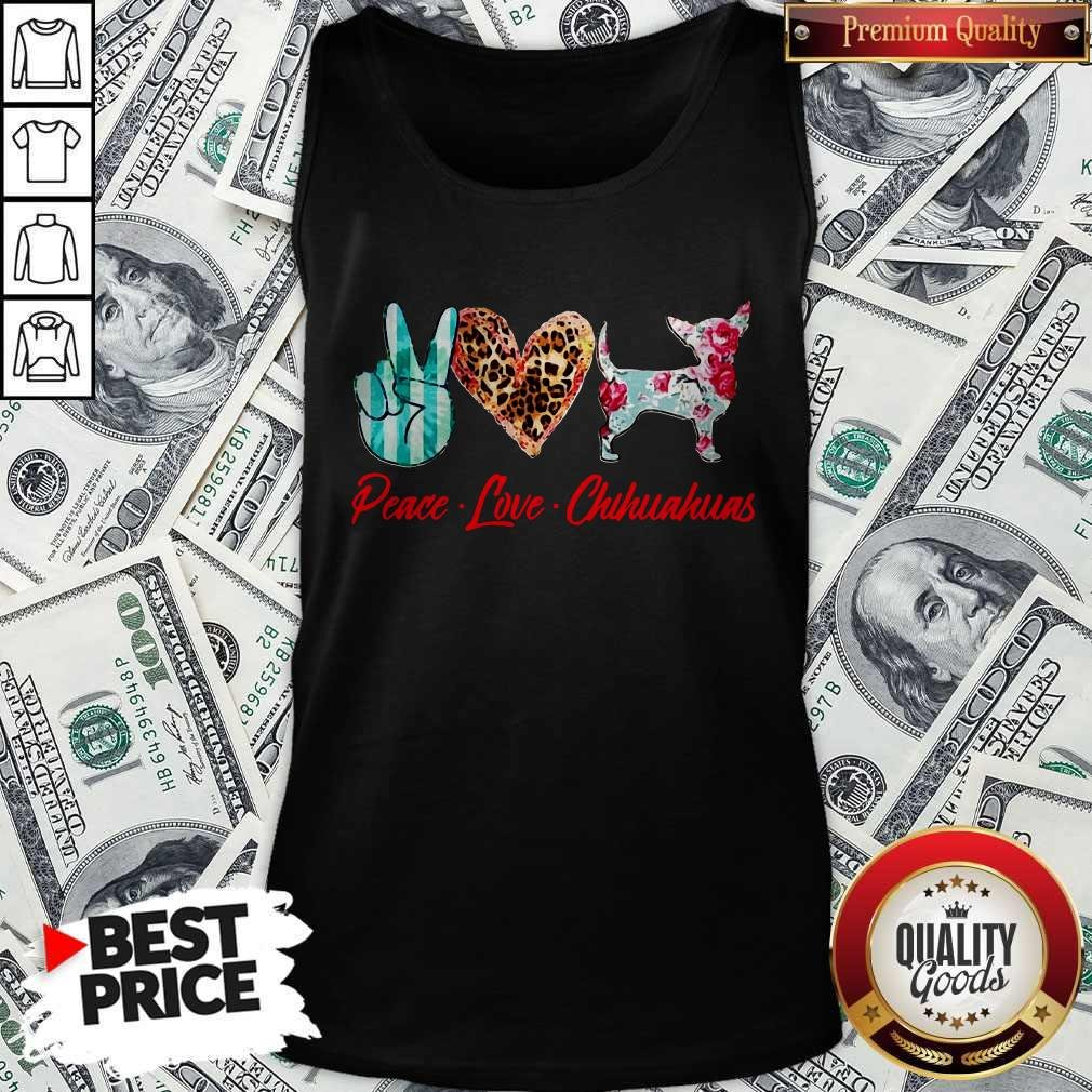Official Peace Love Chihuahuas Flowers Tank Top