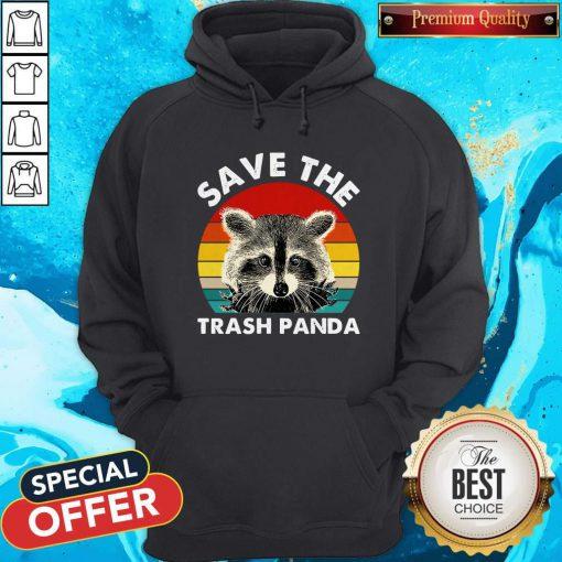 Raccoon Save The Trash Panda Vintage Retro Hoodie