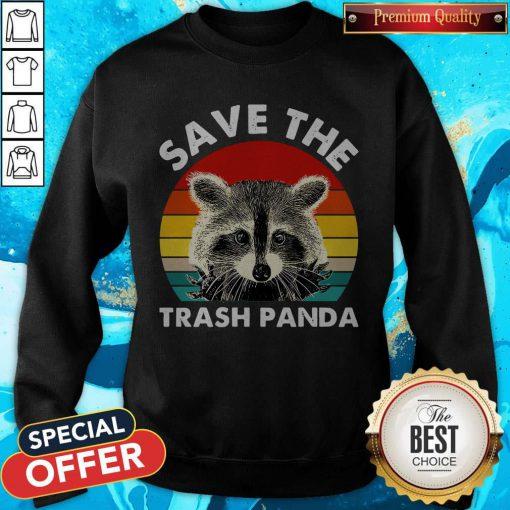 Raccoon Save The Trash Panda Vintage Retro Sweatshirt