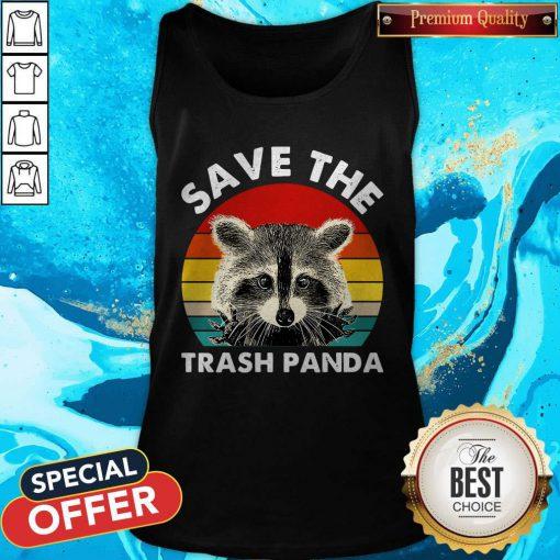 Raccoon Save The Trash Panda Vintage Retro Tank Top