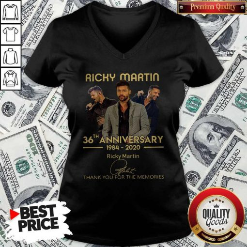 Ricky Martin 36th Anniversary 1984-2020 Thank You For The Memories Signature V-neck