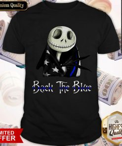 Skellington Back The Blue American Flag Shirt
