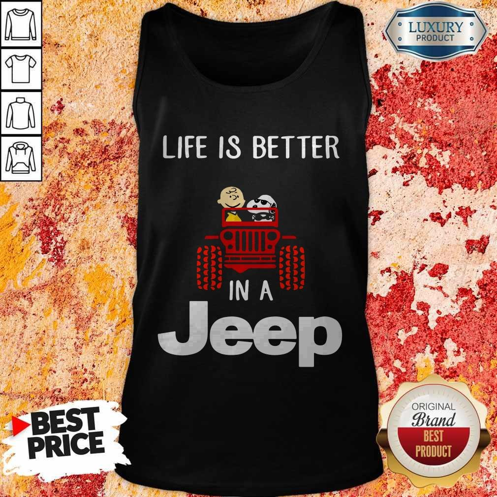Snoopy And Charlie Brown Driving Life Is Better In A Jeep Tank Top