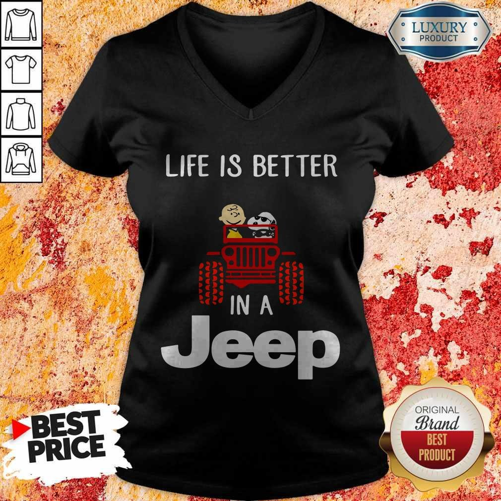 Snoopy And Charlie Brown Driving Life Is Better In A Jeep V-neck
