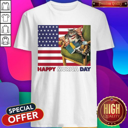 Cat And Book Happy Murica Day Shirt