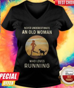 Never Underestimate An Old Woman Who Loves Running V-neck
