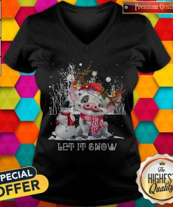 Pig And Snowman Let It Snow Christmas V-neck