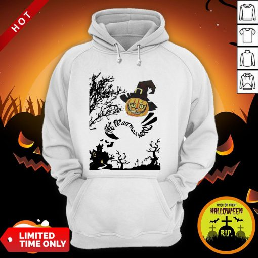 Were All Mad Here Cat Pumpkin Witch Halloween Hoodie
