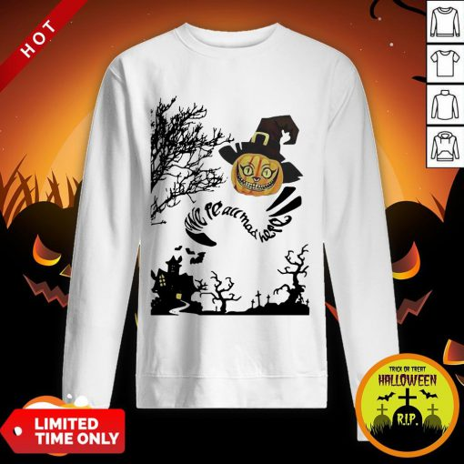 Were All Mad Here Cat Pumpkin Witch Halloween Sweatshirt