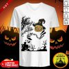 Were All Mad Here Cat Pumpkin Witch Halloween V-neck