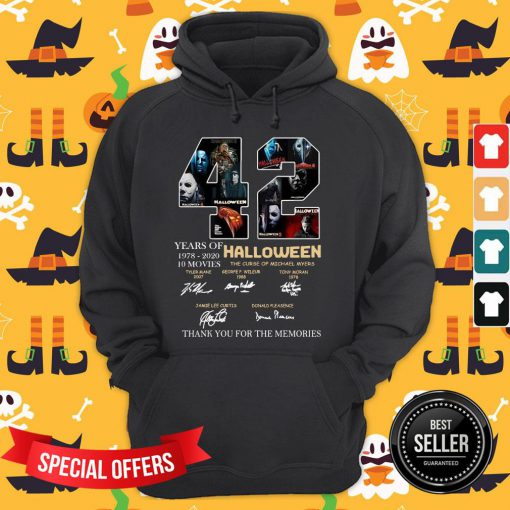 42 Years Of 1978 2020 10 Moves Halloween Thank You For The Memories Signatures Hoodie