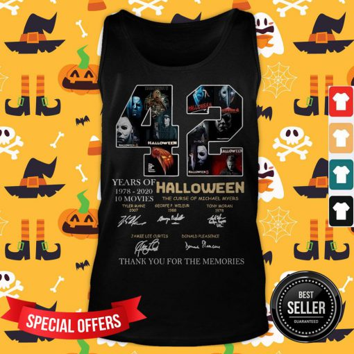 42 Years Of 1978 2020 10 Moves Halloween Thank You For The Memories Signatures Tank Top
