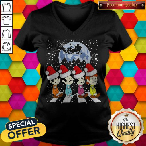 Awesome The Beatles Abbey Road Christmas V-neck