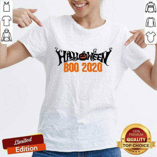 Boo 2020 Pumpkin Funny Happy Halloween Day V-neck