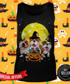 Bulldog Mummy Witch Dog Moon Ghosts Halloween Tank Top