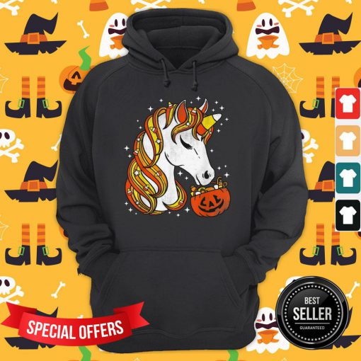 Candy Corn Unicorn Halloween Hoodie