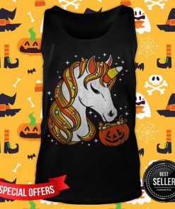 Candy Corn Unicorn Halloween Tank Top