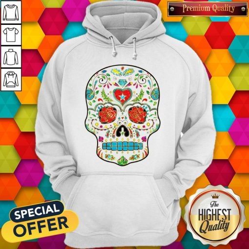 Colorful Floral Sugar Skull Glitter And Gold 2 Hoodie