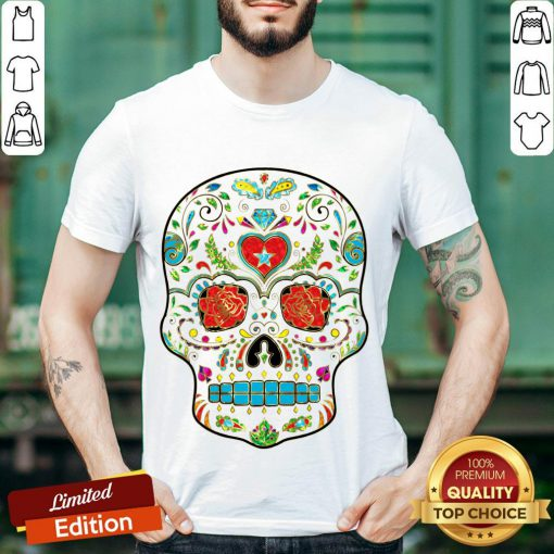 Colorful Floral Sugar Skull Glitter And Gold 2 Shirt