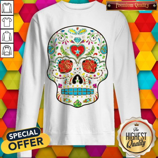 Colorful Floral Sugar Skull Glitter And Gold 2 Sweatshirt