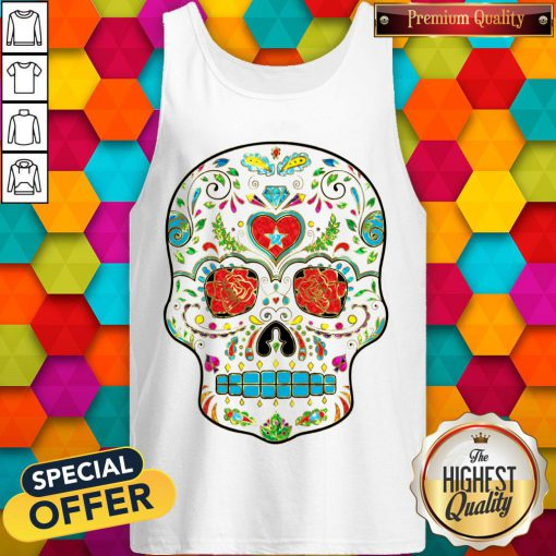 Colorful Floral Sugar Skull Glitter And Gold 2 Tank Top