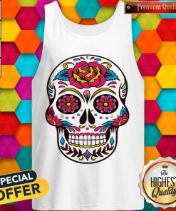 Colorful Flowers Sugar Skull Face Day Of The Death Tank Top