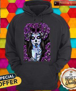 Día de los Muertos Purple Girl Sugar Skull Hoodie