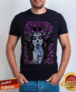 Día de los Muertos Purple Girl Sugar Skull Shirt