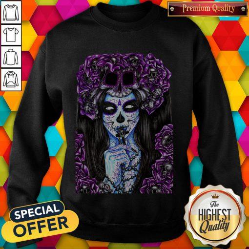 Día de los Muertos Purple Girl Sugar Skull Sweatshirt
