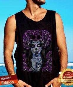 Día de los Muertos Purple Girl Sugar Skull Tank top