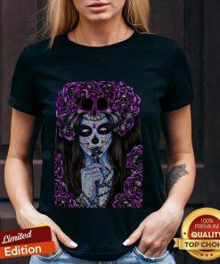 Día de los Muertos Purple Girl Sugar Skull V-neck