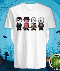 Funny Halloween Horror Characters Cartoon Chibi V-neck