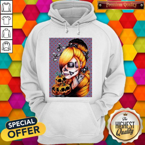 Halloween Pumpkin Sugar Skull Day Of Dead Muertos Hoodie