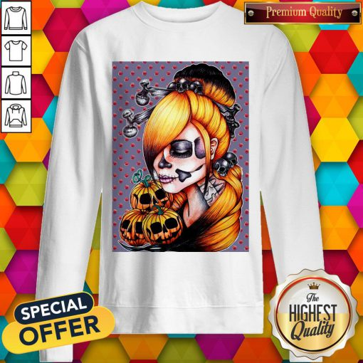 Halloween Pumpkin Sugar Skull Day Of Dead Muertos Sweatshirt