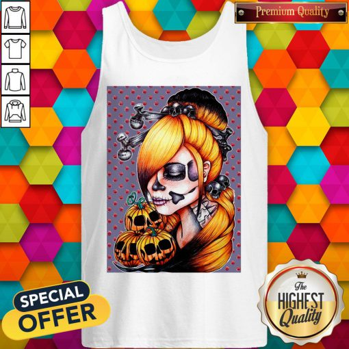 Halloween Pumpkin Sugar Skull Day Of Dead Muertos Tank Top