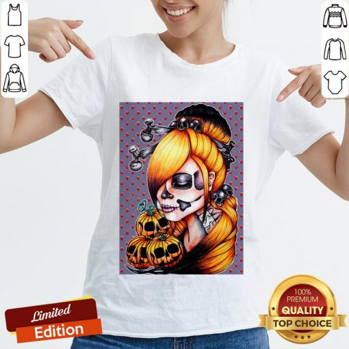 Halloween Pumpkin Sugar Skull Day Of Dead Muertos V-neck