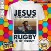 Jesus is My Saviour Rugby Is My Therapy Vintage Retro Shirt