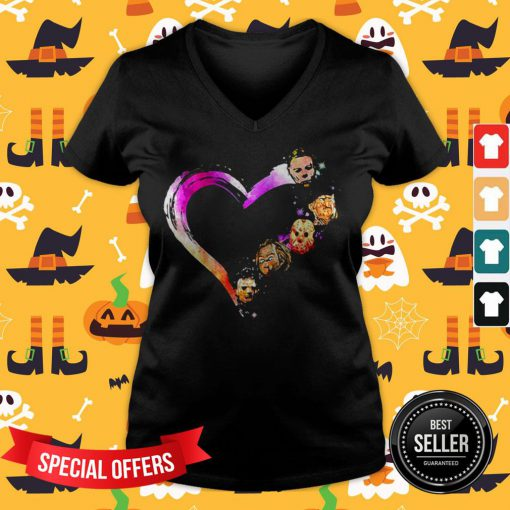 Official Halloween Horror Characters Heart V-neck