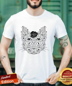 Sugar Skull Cat In Black And Beige Day Of The Dead Muerots Shirt
