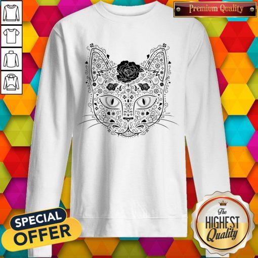 Sugar Skull Cat In Black And Beige Day Of The Dead Muerots Sweatshirt