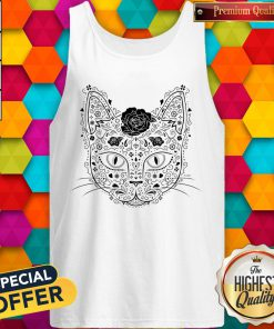 Sugar Skull Cat In Black And Beige Day Of The Dead Muerots Tank Top
