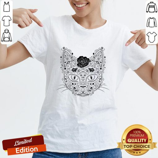 Sugar Skull Cat In Black And Beige Day Of The Dead Muerots V-neck