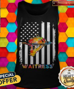Top Waitress American Flag Independence Day Tank Top